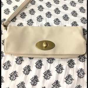 Beige Fold Over Clutch Bag